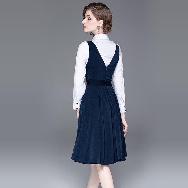 2019 nuevo Conjunto elegante de 2 piezas mujer estilo preppy dos piezas conjunto vestido blanco mujer 2 piezas ropa femenina-in Conjuntos de mujer from Ropa de mujer    3