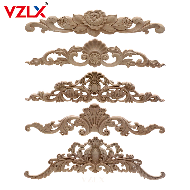VZLX Wood Carved Decal Corner Frame Doors Furniture Woodcarving Decorative Wooden Figurines Craft Long Applique Decoration