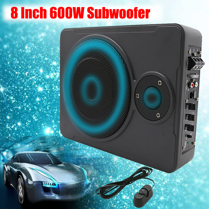New Universal 8 Inch 600W Bluetooth Car Ultra-Thin Audio Active Subwoofer Auto Under Seat Sub Amplifier Car Audio Speaker System hk audio pr o 18 sub a