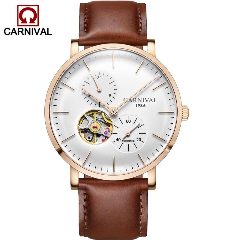 Carnaval ultra-mince tourbillon auto montres mécaniques hommes marque de luxe en acier complet étanche hommes montre horloges relogio kol saati