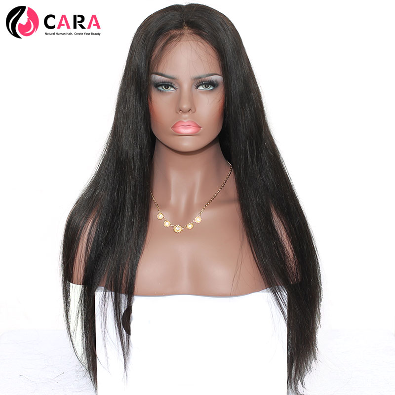 CARA Straight 360 Lace Frontal Wigs Natural Color Pre Plucked Natural Hairline Brazilian Remy font b
