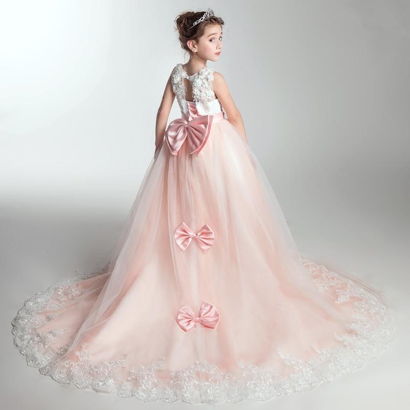 2018 New Elegant Girls Children Wedding Birthday Party Long Tailing Dress Kids Teens Host Evening Party Costume Dress 3~15 Years