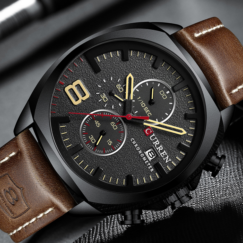 CURREN Chronograph Fashion Men's Watches Luxury Leather Business Quartz Watch Men Military Sport Wrist Watch Relogio Masculino