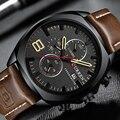 Мужские часы CURREN  армейские  спортивные  кварцевые  с кожаным ремешком