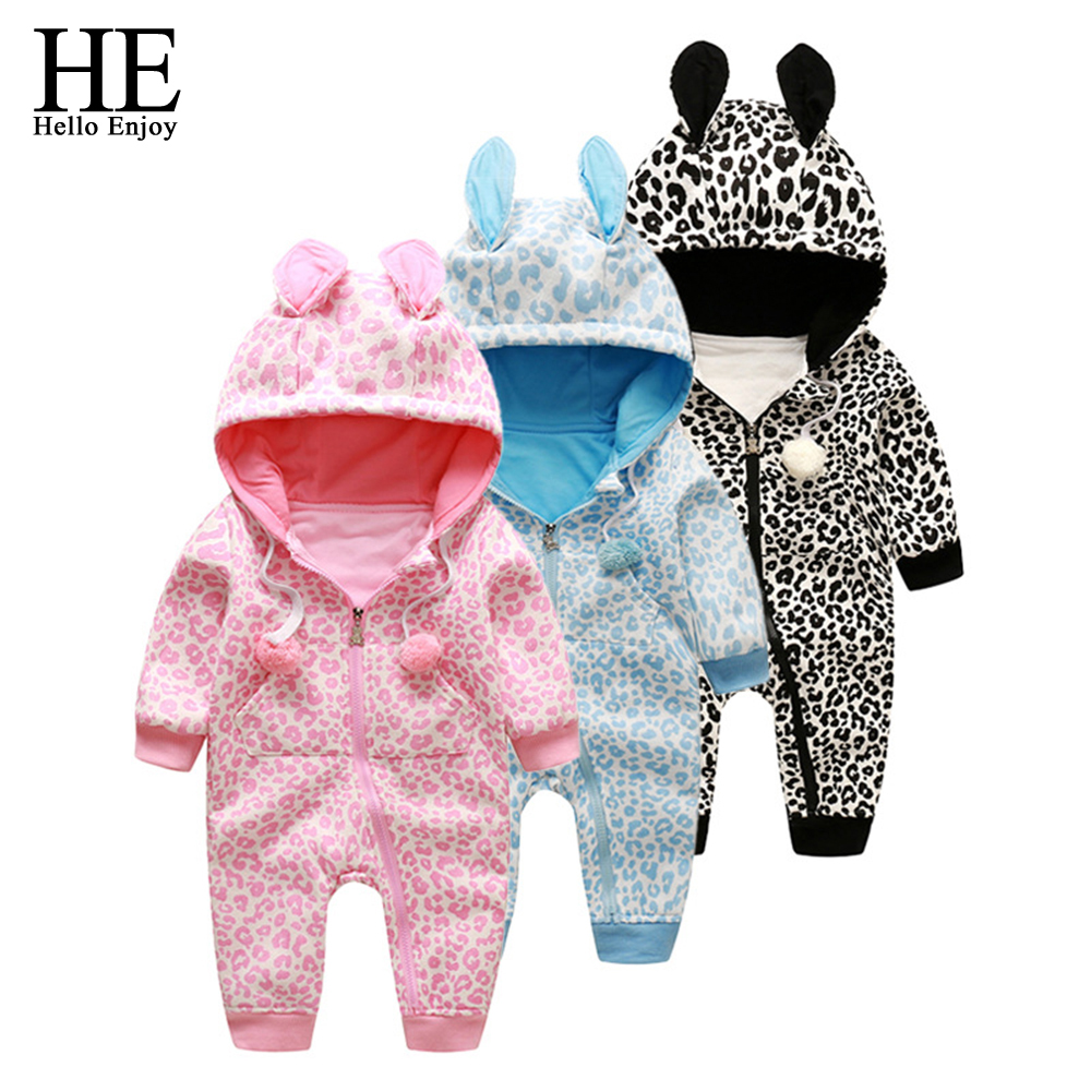 HE Hello Enjoy baby rompers winter baby girls clothes new born clothes boys hooded leopard clothes toddler baby infantil 2017 winter girls baby boys sneakers first walker shoes small footwear for babies toddler lovely sports new year baby walker 70a1027