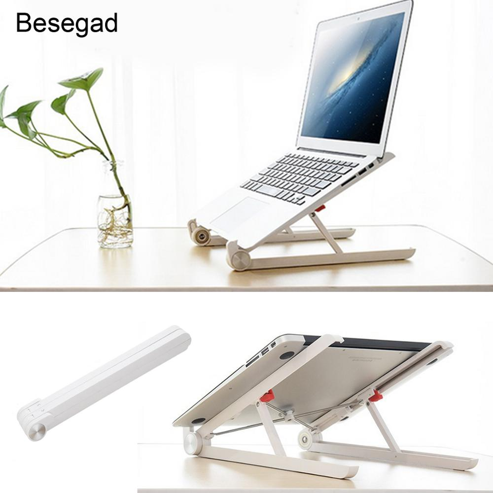 Besegad Adjustable Ergonomic Folding Laptop Stand Cooling Holder Bracket for iPad MacBook Notebook Computer Tablet 11-15.6 inch