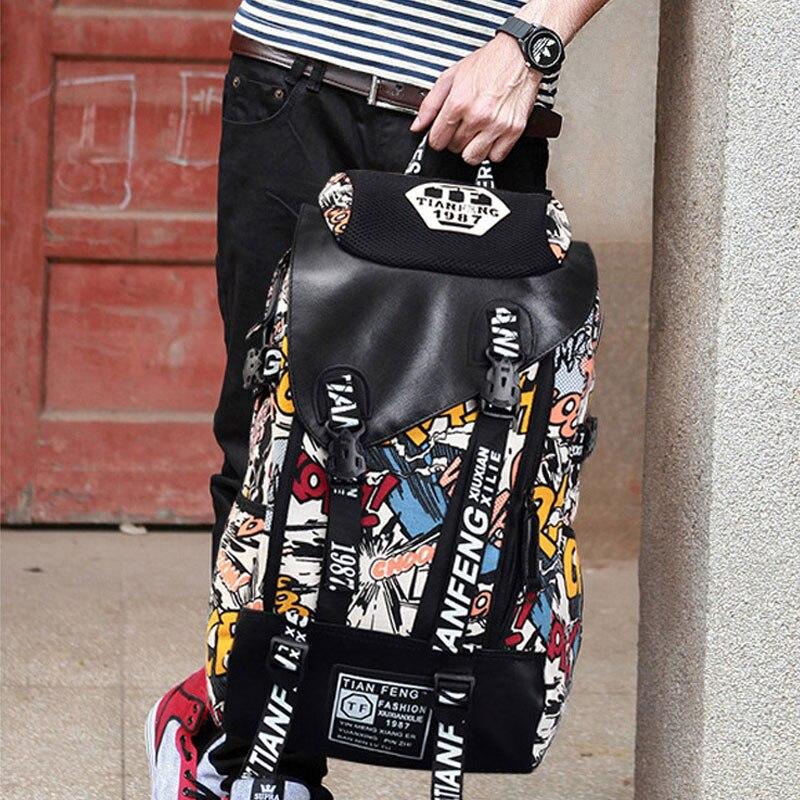 Graffiti Laptop Backpack Men Canvas School Bag Teenage Boys Large Cartoon Letters Printing Backpacks Travel Bags Mochila Xa1788c #5