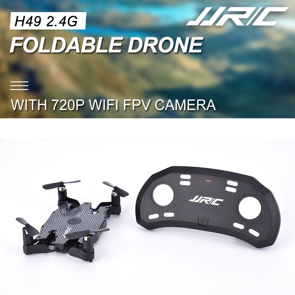 JJRC H49 2.4GHz 720P HD Wifi FPV Live Video Camera Foldable Mini Quadcopter Drone With Altitude Hold 360° Flips Plaid Black