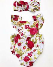 Baby Girls Floral Romper+Headband Set