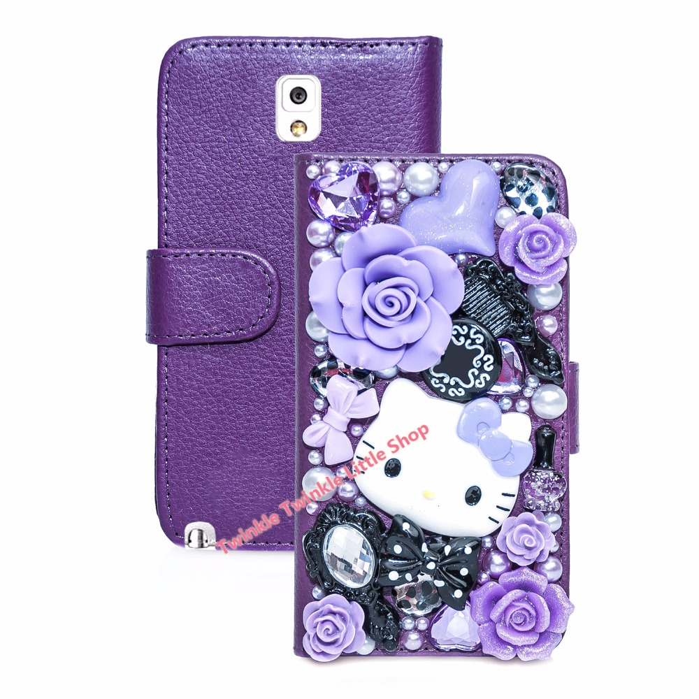 3D Bling Crystal Hello Kitty Flip Wallet Leather Case For