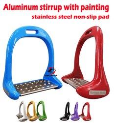 O envio gratuito de estribo de alumínio com almofada antiderrapante de aço inoxidável, tamanho: 4 3/4 , produto de cavalo (st3118)
