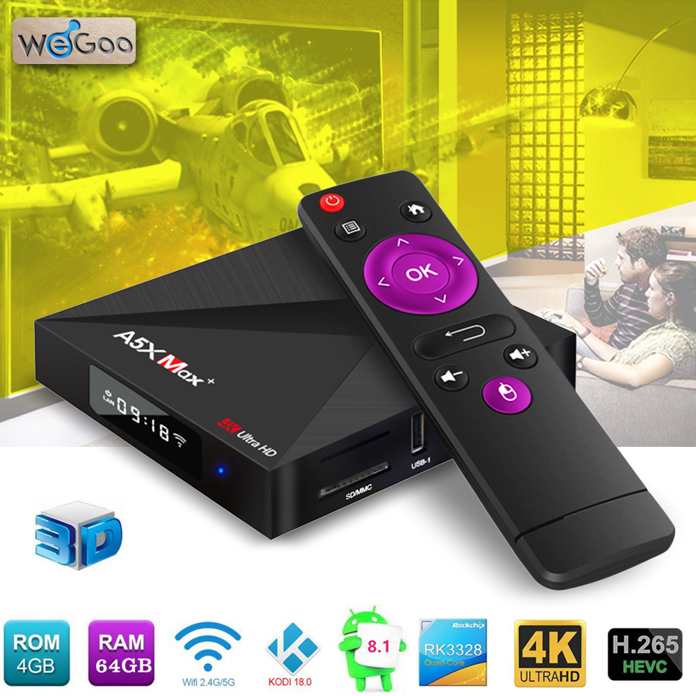 Smart Android TV Box Android 8.1 A5X Max+ RK3328 4GB/64GB Dual WiFi Bluetooth Smart TV Box HD 4K Media Player Tvbox Set-top Box a5x max android 8 1 tv box rk3328 4gb ram 32gb rom usb 3 0 2 4ghz wifi bluetooth media player 4k hd smart set top box pk mx10