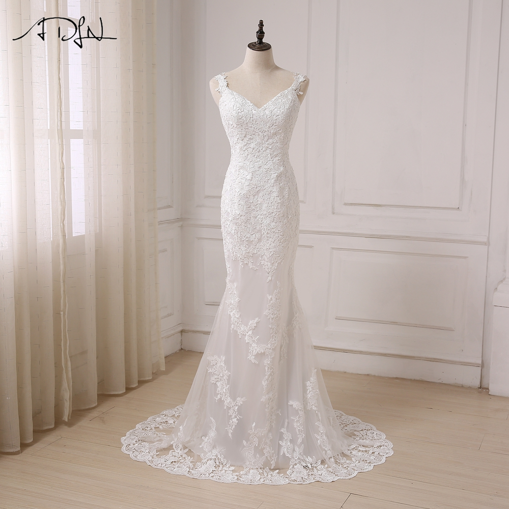 ADLN Sexy Mermaid Wedding Dress V neck Open Back Fashion Lace White Ivory Bridal Gowns Sweep