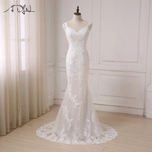 ADLN Sexy Mermaid Wedding Dress V-neck Sleeveless Backless Lace Bridal Gowns Sweep Train Vestido De Noiva In Stock(China)