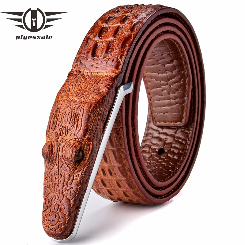 Plyesxale Marca Cinture Da Uomo Di Lusso Cinghia di Cuoio Del Progettista Degli Uomini di Alta Qualità Ceinture Homme Coccodrillo Cinturones Hombre 2018 B2