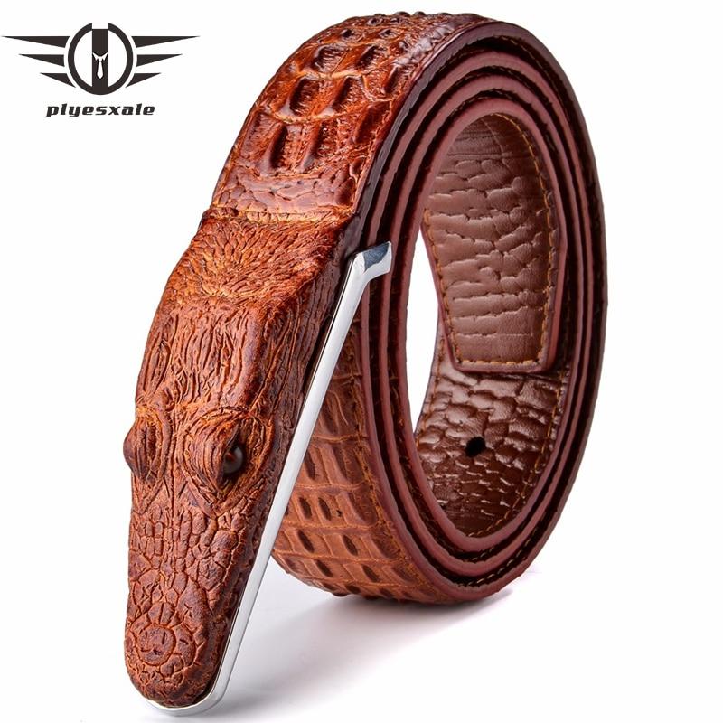 Plyesxale marque hommes ceintures de luxe en cuir Designer Ceinture hommes de haute qualité Ceinture Homme Crocodile Cinturones Hombre 2018 B2