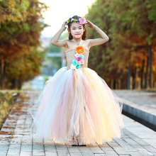 Flower Solid Wedding Girls Dress 12 Age Cute Kids Christmas Party Tutu Vestido Princess Costume with Wreath Children Set