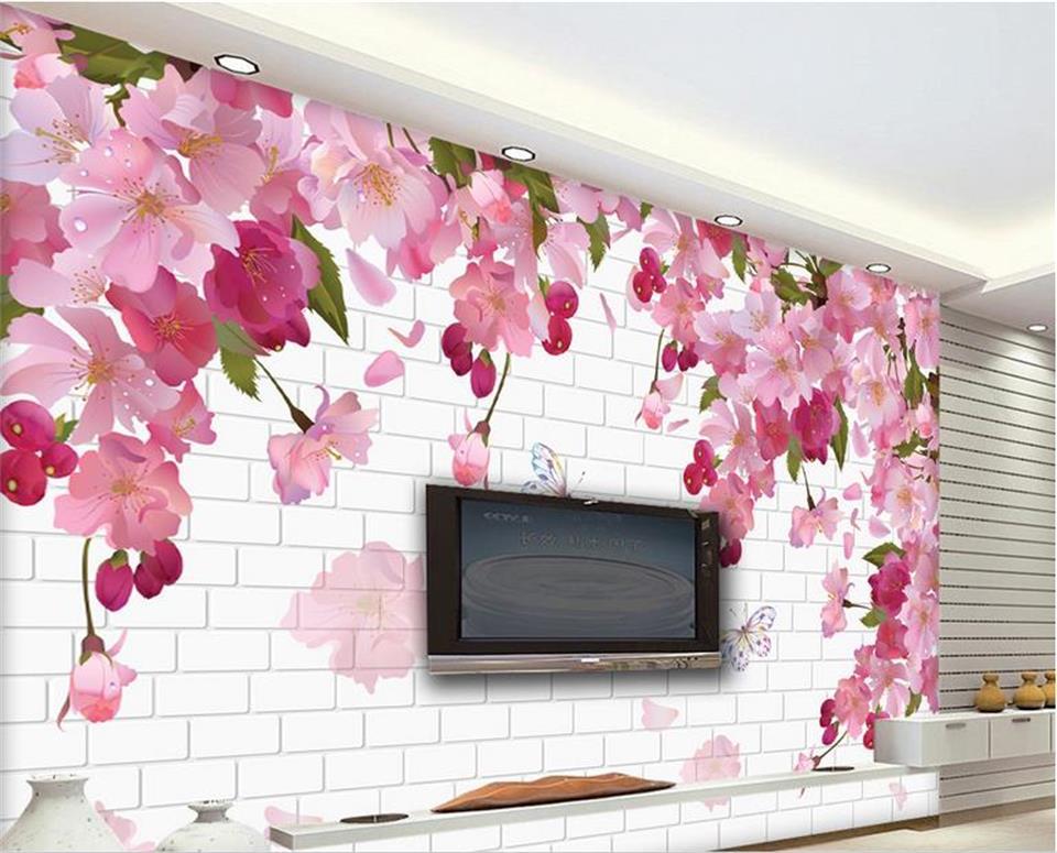 3d Custom photo mural 3d wallpaper beautiful cherry blossoms setting wall decor painting 3d wall murals wallpaper for walls 3 d