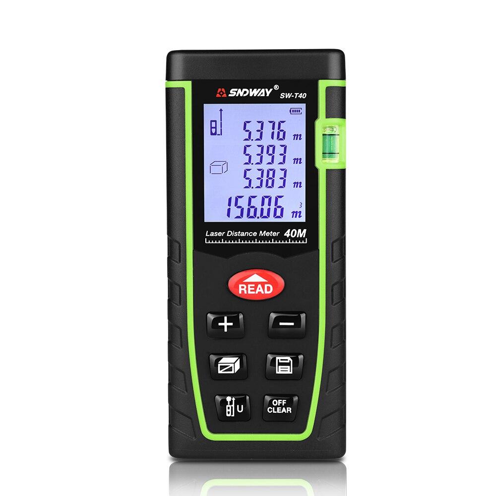 SNDWAY 40M Digitale Laser-entfernungsmesser Handheld Abstand Meter Bereich/volumen/Winkel Band Mess Werkzeug Trena Roulette Herrscher