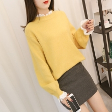 women sweater female pullovers casual computer knitted ruffled collar butterfly sleeve patchwork lovely and sweet