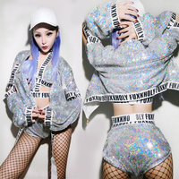 2018 New Jazz Dance Costumes Women Silver Sequined Hip Hop Nightclub Sexy Bar Dj Female Singer Costume Girls Stage Outfit DN1272
