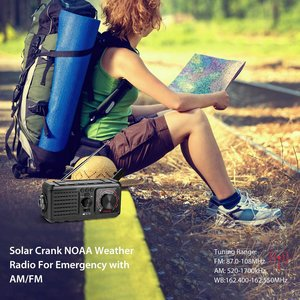 Image 3 - Radio Meteorológica NOAA con manivela Solar para emergencias con lámpara de lectura de linterna AM/FM y banco de energía de 2000mAh