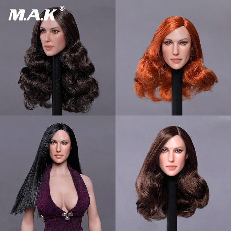 1 6 European beauty star Head Model orange  black Curly hair straight hair Head  Sculpt GC020 for 12