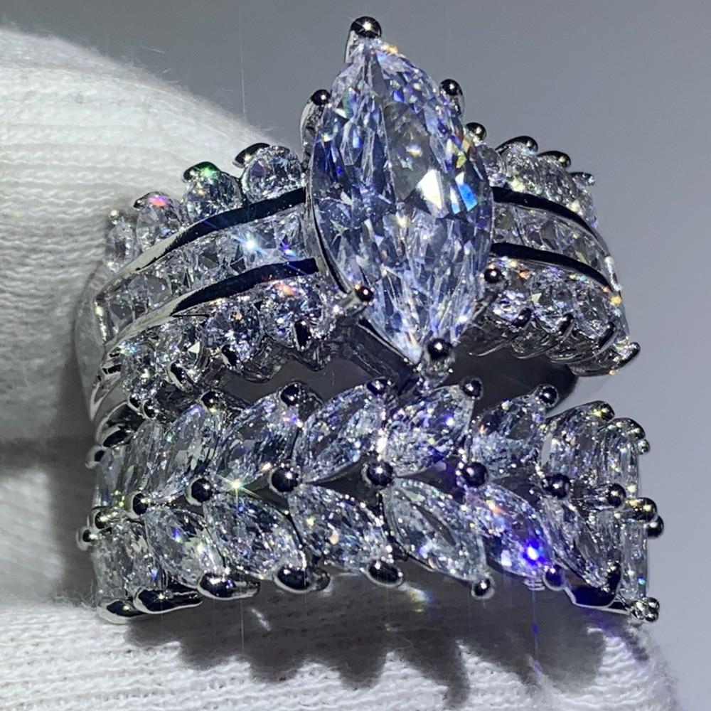 90% オフスーパーディール見事な高級ジュエリー 925 スターリングシルバーマーキス 5A CZ ジルコニアドロップ配送結婚式ブライダルリングセット婚約指輪   -