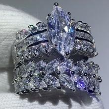Conjunto de anillo de boda con Circonia cúbica, joyería de lujo, 90% de descuento, Marquesa 5A, Circonia cúbica, envío directo, 925