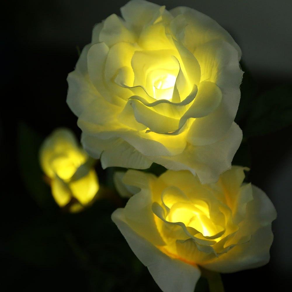 Al aire libre Solar Powered Luz LED Flor Color de Rosa de La Lámpara para el Hog