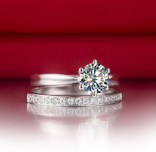 Solid 18k White Gold Two Rings bine 2CT Round Diamond Ring With