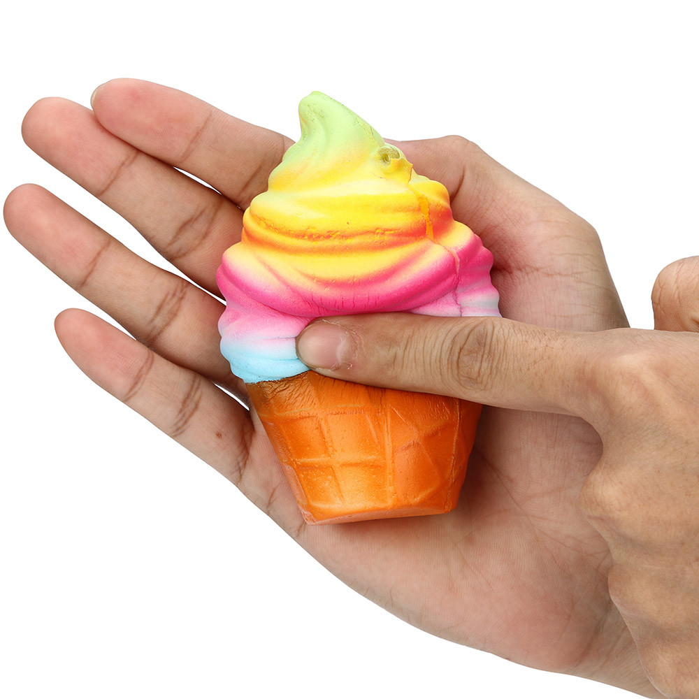 ISHOWTIENDA Kawaii mochi Squishy 10cm Rainbow Ice Cream Cone Slow Rising Scented Jumbo stress reliever squeeze toy prank rallies