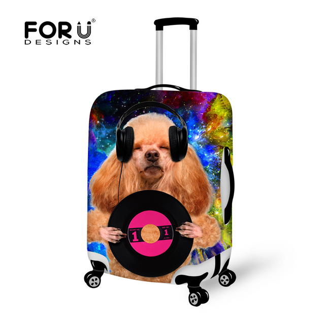 Elastic Luggage Protective Covers Music Cat Poodle Dog Printed Luggage Cover Suitcase Protective Covers for 18-30 Luggage Cover
