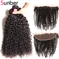 Sunber Curly Hair Bundles With Frontal Remy Human Hair Weave Brazilian Hair 3 Bundles With Closure 13X4 Frontal Closure