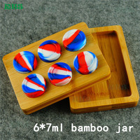 6 7ml Professional Factory Supply Wooden Box For Small Silicone Jars Dab Wax Container With Magnet
