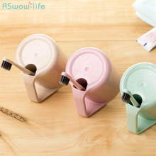 Creative Environmental Wheat Straw Space-Saving Mouthwash Cup Friendly Non-Toxic Toothbrush Household Bathroom