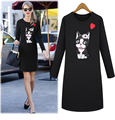 Europe 2016 Autumn New Cartoon Dog Sequined Printed Dress Round Neck Long-sleeved Dress Fashion Slim Bottoming Dress