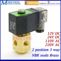 2 position 3 way Direct acting NC mini solenoid valve 1/8 24V DC NBR seals brass for gas water oil
