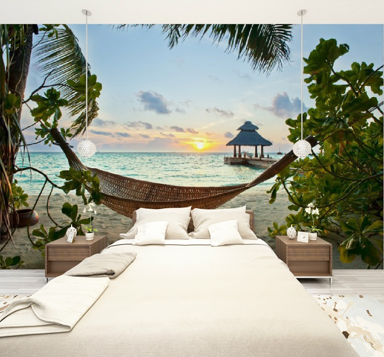 Home & Garden Home Decor Custom Size 3d Photo Mural Wall Sticker Hammock On The Beach Removable Wall Papers Self-adhesive Vinyl Art Home Decor Elegant And Sturdy Package