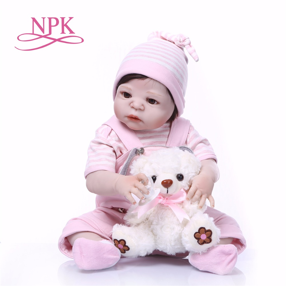 Bebes reborn NPK doll toys 2357cm Full silicone reborn baby dolls newborn girl doll alive can bathe with bear boneca rebornBebes reborn NPK doll toys 2357cm Full silicone reborn baby dolls newborn girl doll alive can bathe with bear boneca reborn