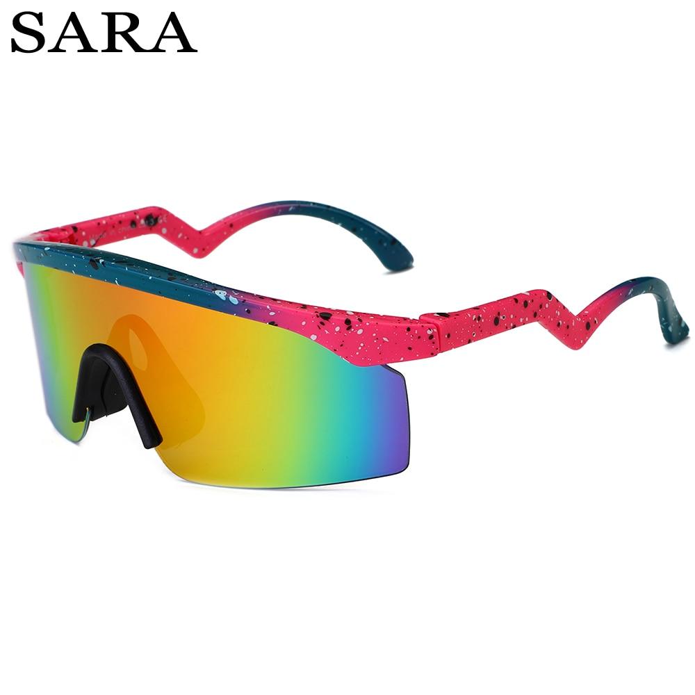 SARA 2018 Marca Designer Óculos De Sol Dos Homens Ao Ar Livre Escudo Óculos  de Sol c0bf29e350