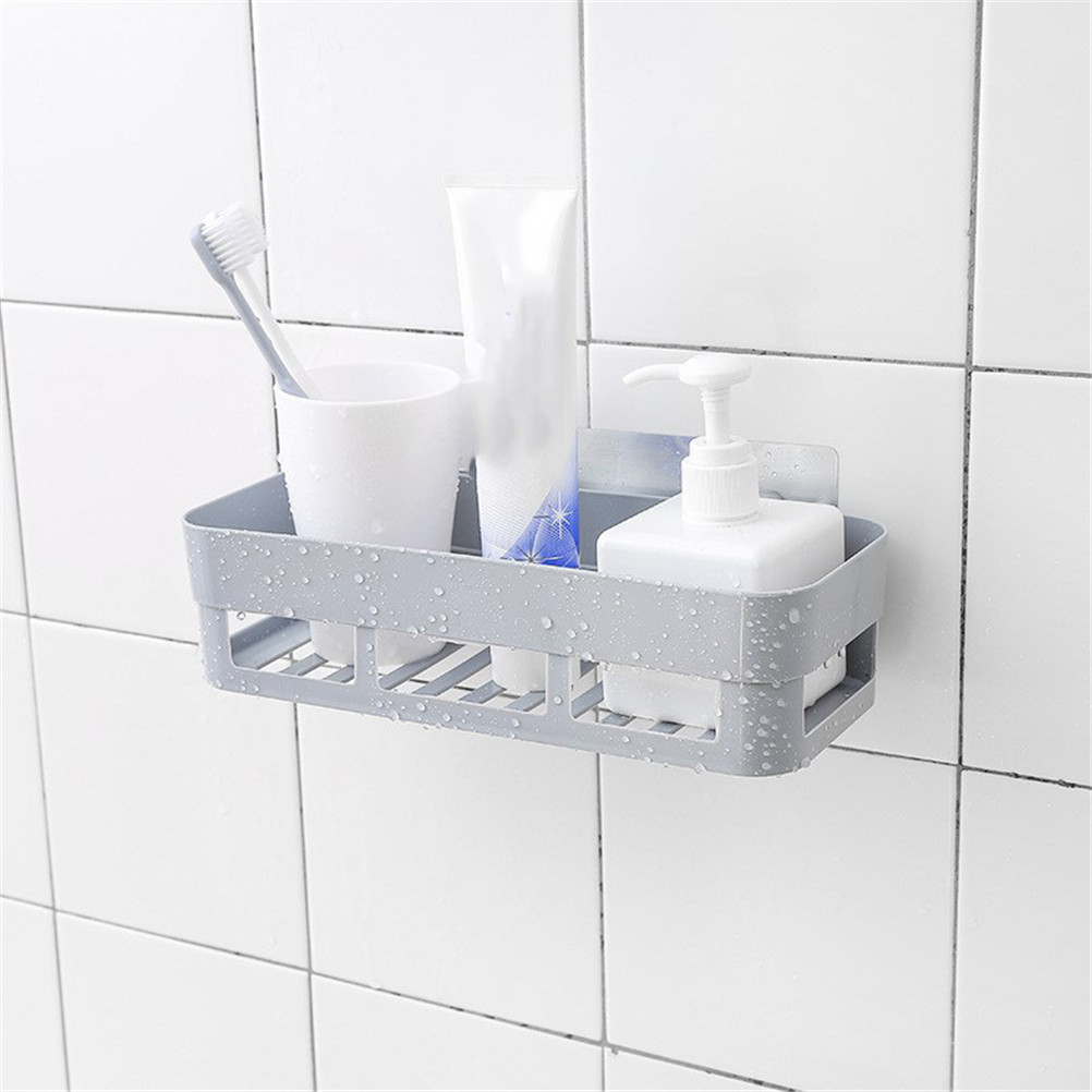 Bathroom Wall Rack Shower Lotion Organizer Shelf Dual Strong Suction ...
