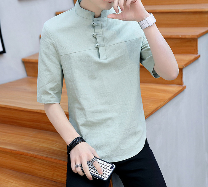 US $12.82 39% OFF|Short Sleeve Harajuku T shirt for Shanghai Men Clothing Chinese Traditional Cotton Linen Breathable Summer Outfits Tang Suit|Tops|
