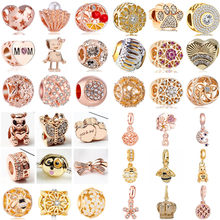 Luxurious Gold Color Bee Crown Dog Flower Lobster Hearts Charms Beads Fit Pandora Bracelets Crystal Jewelry for Women DIY Perles(China)