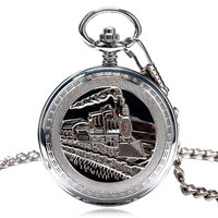 3D Steam Locomotive Carving Train Men Mechanical Pocket Watch Cover Fob Chain Pendant Clock Steampunk for Men Women Gifts