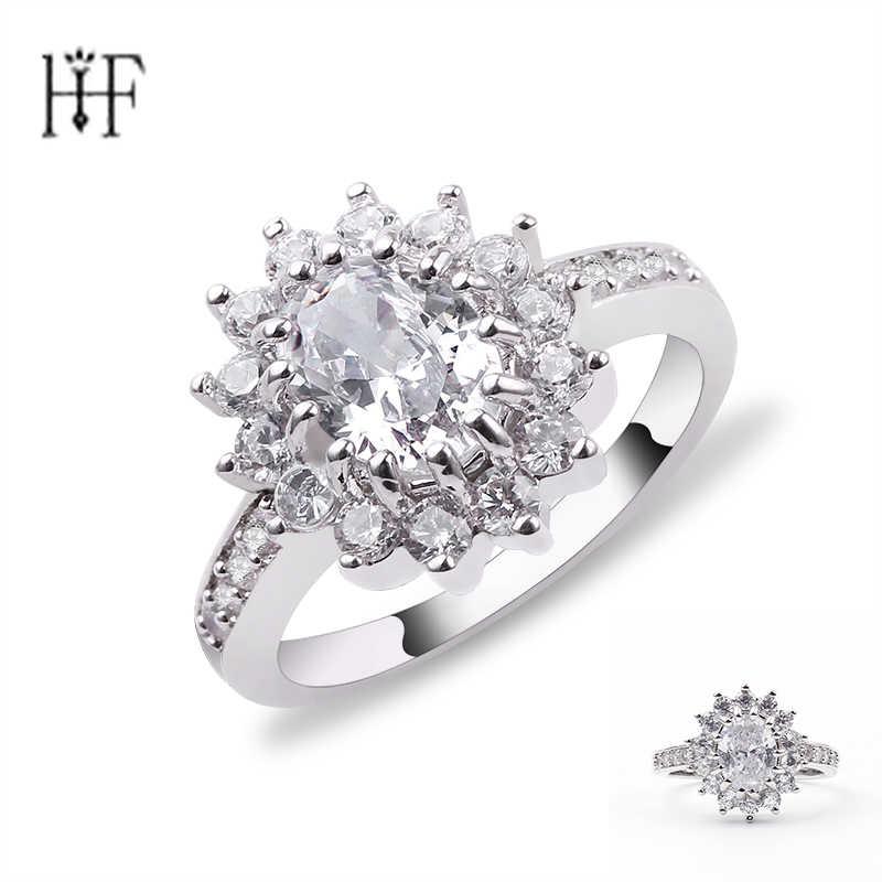 Новое поступление серебряное Золотое кольцо на палец с цветком для женщин с AAA белым кубическим цирконием Свадебные украшения anel anillos aneis bague