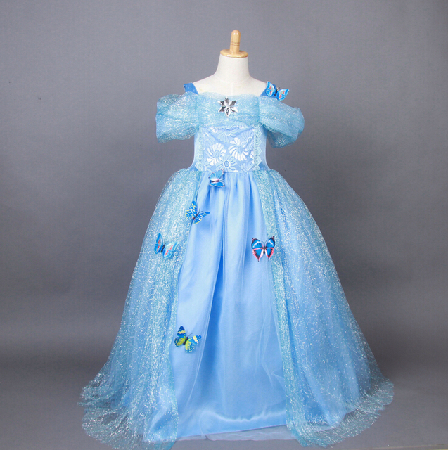 Flower Girl Dresses Ball Gown Party Evening Prom Dresses Cute Bowknot Kids  Bule Princess Dresses Pageant 60627704ad40