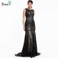 Dressv Black Long Evening Dress Cheap Scoop Neck Sleeveless Mermaid Zipper Up Wedding Party Formal Dress