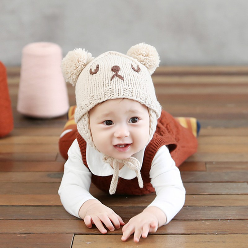 Fashion Baby Hat Knitted Cute Bear Ears Newborn Baby Beanie Hat Thickened Baby Cap 0~3Y
