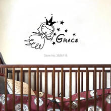 Personalized Fairy Wall Stickers Custom Baby Name Vinyl Art Decals for Childrens Room Decoration